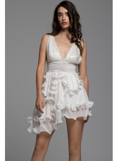 Tuba Ergin İpek Nervür ve Taş İşlemeli Mini Lina Elbise Beyaz